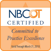 NBCOT Certified - Committed to Practice Excellence - Valid Thru March 31, 2018
